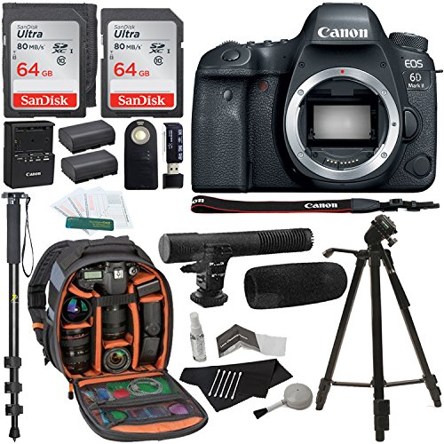 Canon EOS 6D Mark II Digital SLR Camera Body, 64GB 2 Pack, Ritz Gear Photo Camera Backpack, Tripod, Battery, Cleaning Kit, Monopod and Accessory Bundle by Ritz Camera