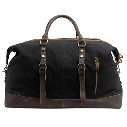 Canvas Duffle Bag, P.KU.VDSL Mens Overnight Bag Leather Weekend Bag  Waterproof Luggage Tote Bag Large Holdall for Travel  Amazon.co.uk  Luggage d70960e8b2