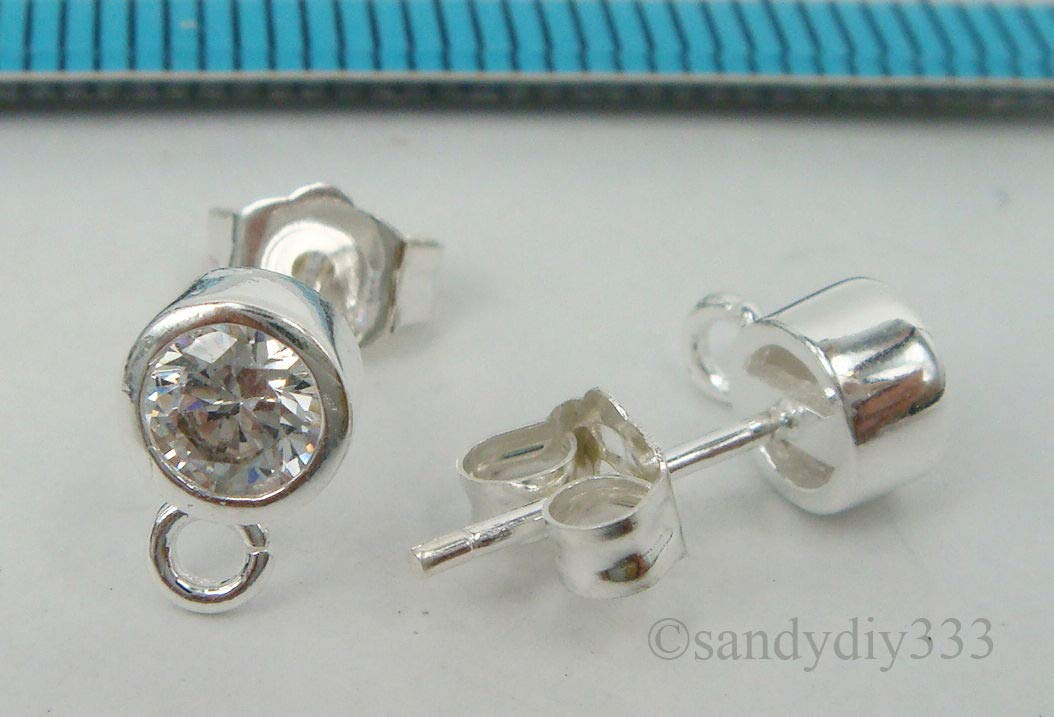 FidgetFidget 10x Sterling Silver CZ Crystal Round Stud Loop Post Earrings 5.2mm #1797A