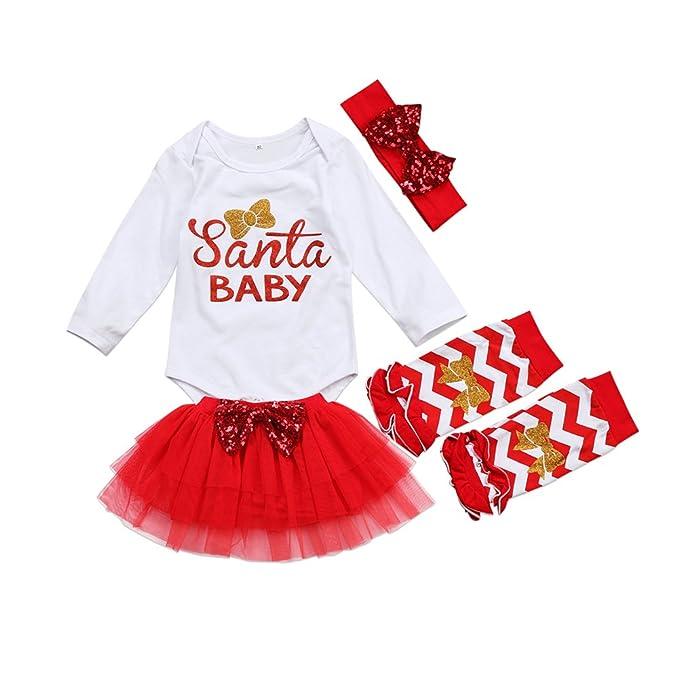Traje Navidad para Bebé Niña 4 Piezas Conjunto de Recién ...