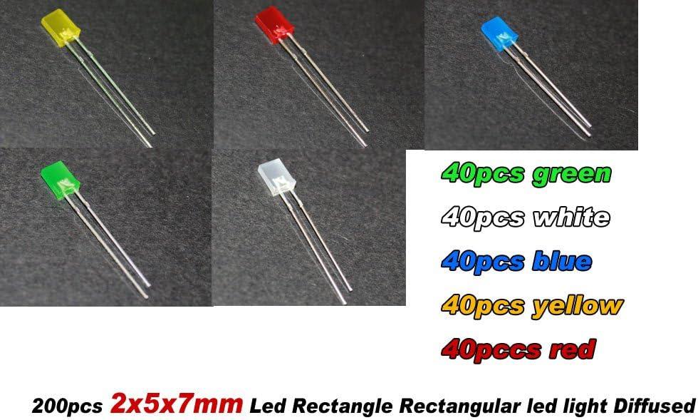 100pcs 2x5x7mm Green Diffused LED Rectangle Rectangular Leds Light Free Shipping