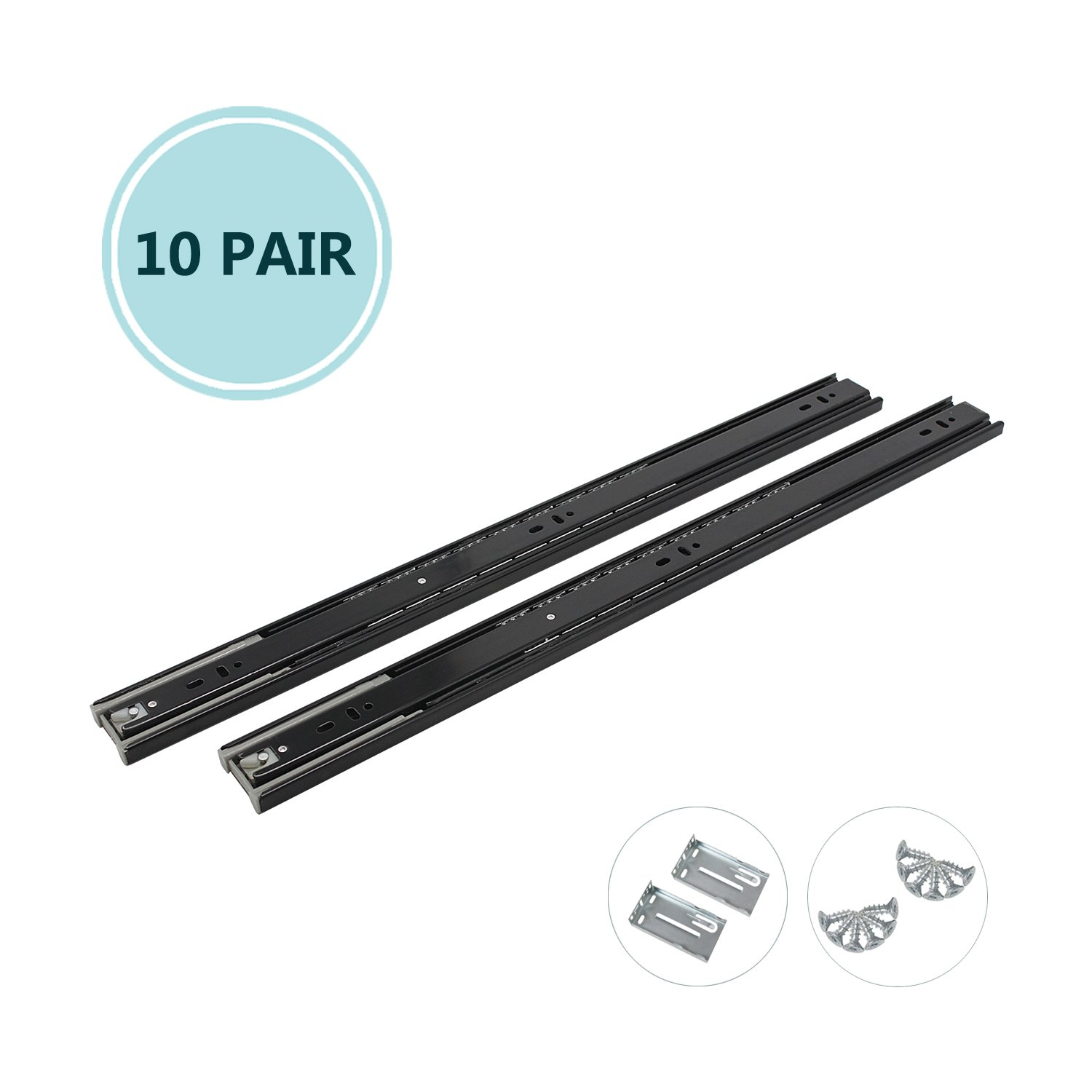 24 Inch Full Extension Ball Bearing Soft Close Slides 80 LB Capacity Kitchen Cabinet Drawer Slides Black Finish, Rear Mount Bracket and Screws are Included (24 Inch 10 Pair)
