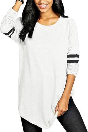 VONDA Blusas y Camisas de Mujer Manga Larga Elegante Camisa Camiseta Larga Rayas Casual Túnica Tops Jersey Largo
