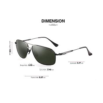 Gris Jack Classic Aviator Gafas de sol polarizadas rectangular UV lentes de protección para hombres - S110402, Black Frame / Blackish Lens: Amazon.es: ...