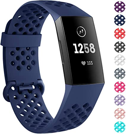 Large Small adepoy Compatible with Fitbit Charge 3 Bands for Women Men Breathable with Air Holes Replacement Wristbands for Fitbit Charge 3 and Fitbit Charge 3 SE