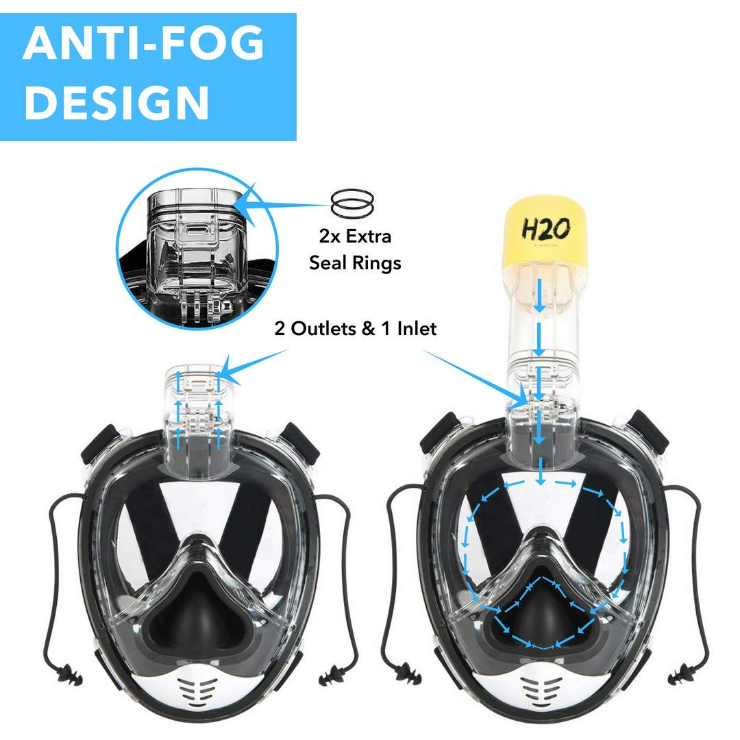 H2O by MiDezigns Full Face Snorkel Mask 2018 Latest Upgrade GASBAG Design with Ear Pressure Balance 180° Panoramic View Anti-Fog Anti-Leak with Go Pro ...
