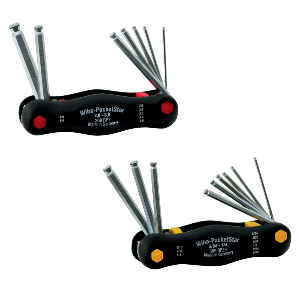 GERMANY NEW IN PACKAGE WIHA POCKET STAR FOLD UP 9 PC BALL END INCH HEX KEY SET