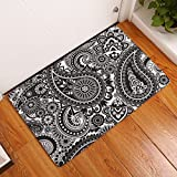 EZON-CH Modern Non Slip India Ethnic Paisley Mango Style Hello Home Bathroom Bath Shower Bedroom Mat Toilet Floor Door Mat Rug Carpet Pad Doormat(20x32IN)(Grey White)