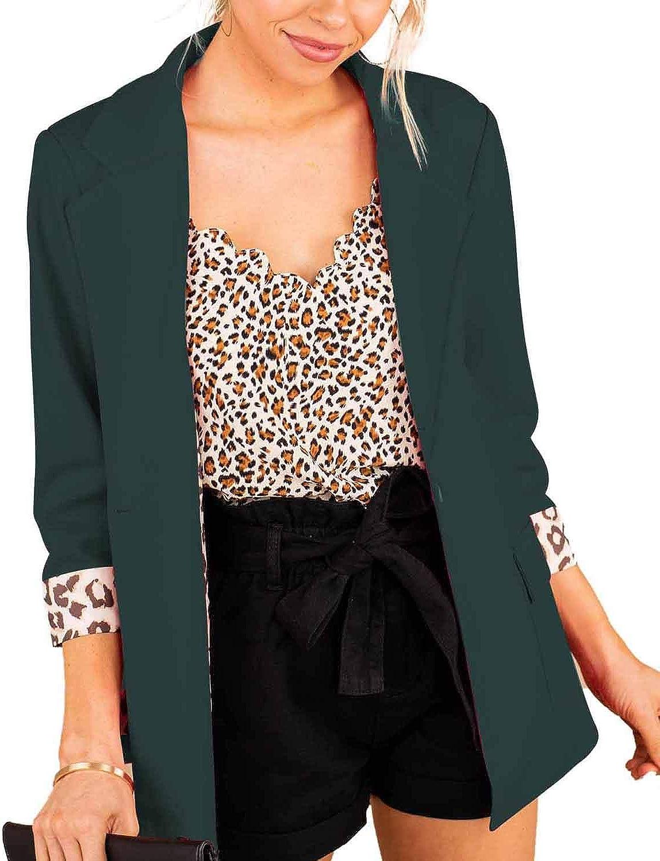 FARORO Womens Blazers 3/4 Sleeve Lightweight Office Work Casual Suit Jacket Cardigan Jacket Blazer