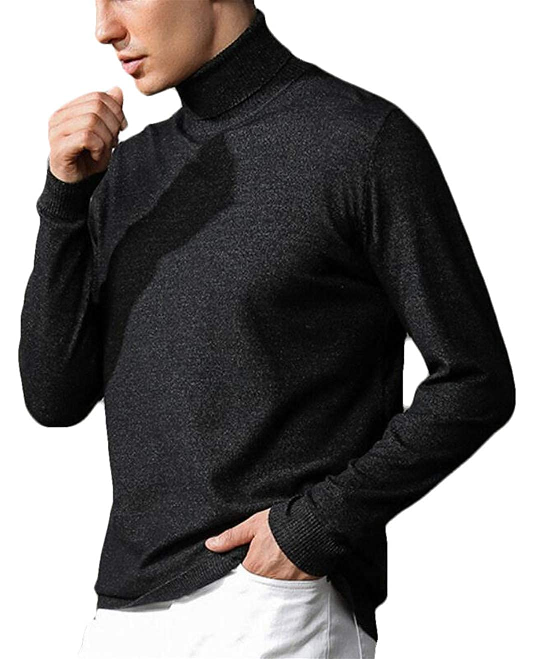 SELX Men Solid Pullover Slim Fit Turtleneck Thermal Long Sleeve Knitted Sweater