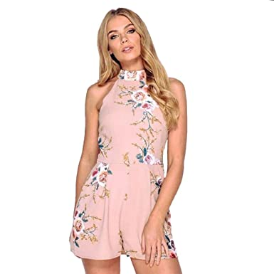 a0f21adf96 Clemunn Sexy Mini Wide Leg Jumpsuits ,Women High Neck Floral Mini Playsuit  Ladies Summer Shorts Jumpsuit  Amazon.co.uk  Clothing
