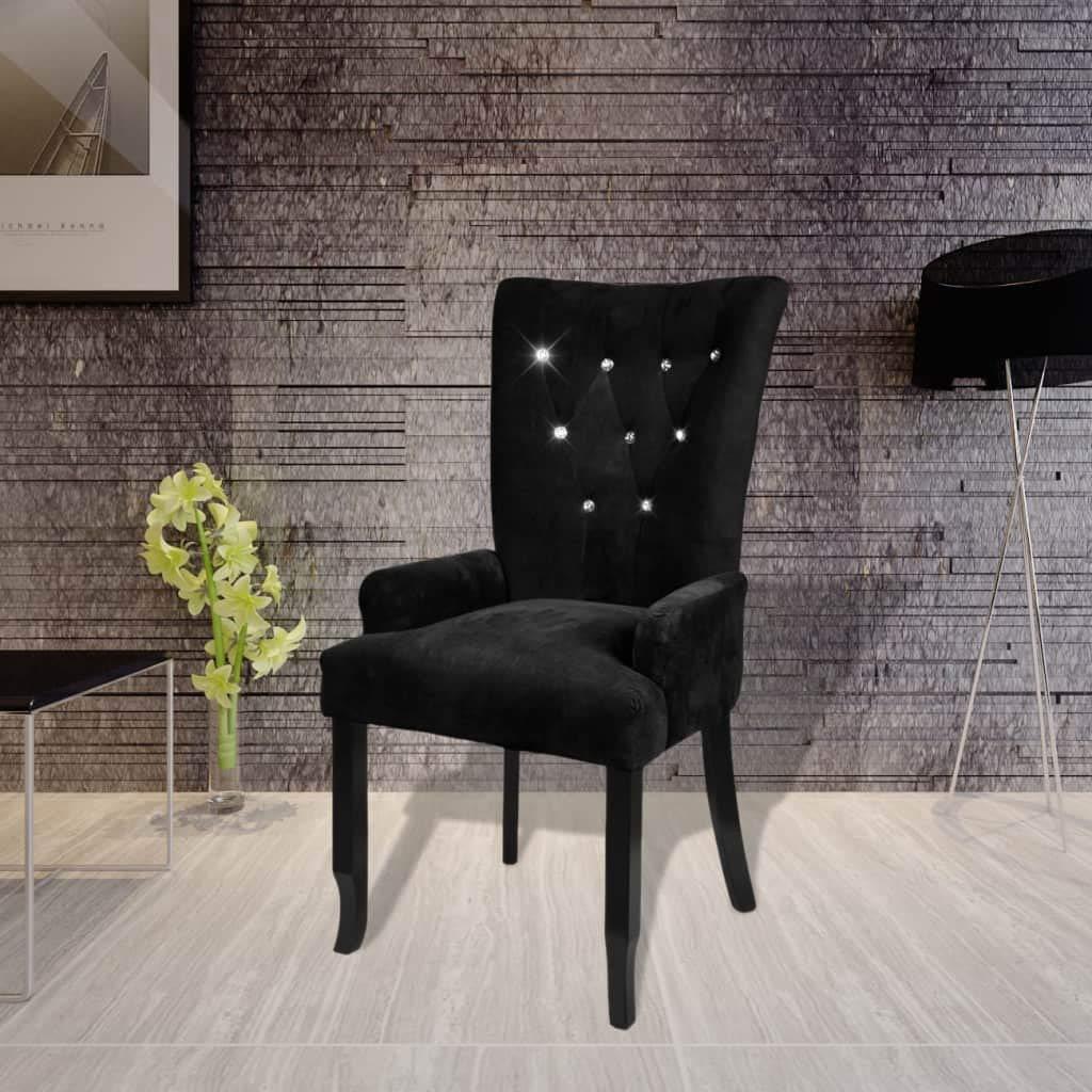 Xingshuoonline Sessel mit Holzrahmen Farbe SAMT schwarz Sillon Sitzhöhe vom Boden  53,5 cm