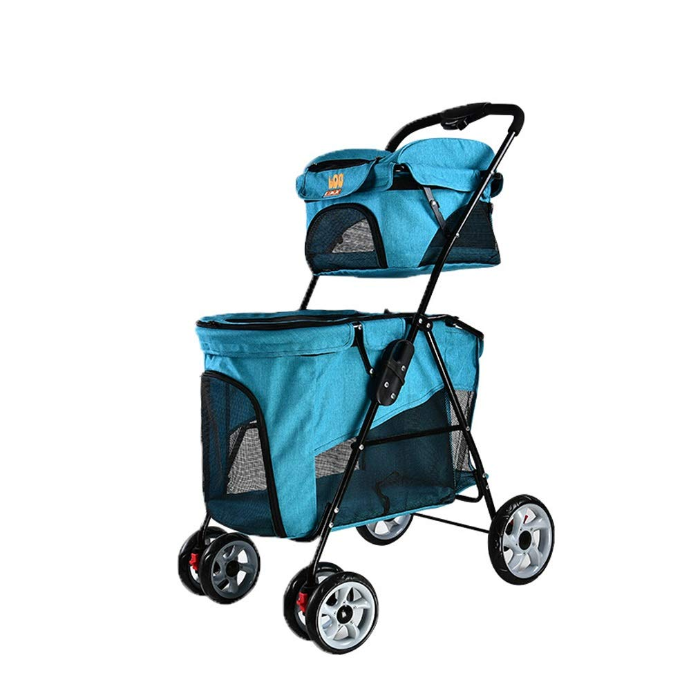 bluee Pet Stroller Lightweight Folding Double Four-Wheeled Cart Cage (color   bluee)