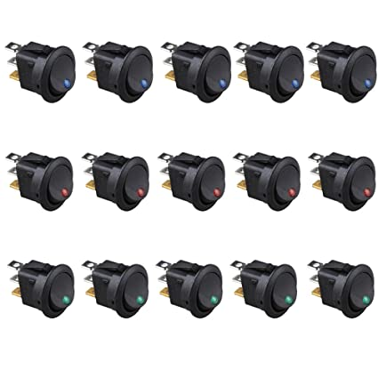 amazon com etopars™ 15pcs car boat truck rocker round dot toggleamazon com etopars™ 15pcs car boat truck rocker round dot toggle led switch blue red green light on off control 12v 16a automotive