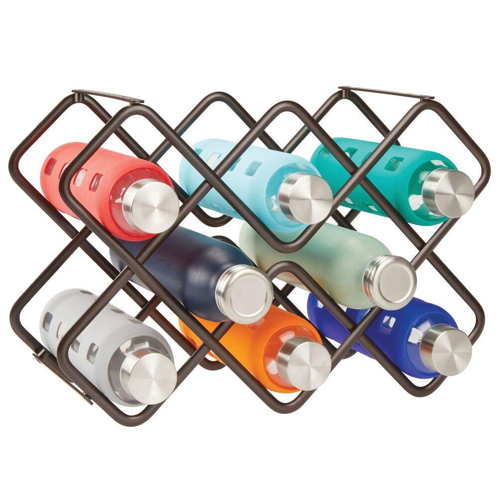 mDesign Estante para Botellas y Vino Bonito botellero de Metal en Tres Niveles con Capacidad para hasta 8 Botellas Negro Mueble botellero de pie para Botellas de Vino y Otras Bebidas