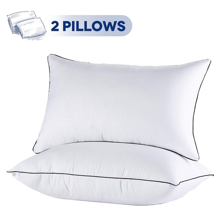 JOLLYVOGUE 2 Pack Bed Pillows for Sleeping-Hypoallergenic Sleeping Pillows for Side and Back Sleeper Hotel Pillows Down Alternative Pillow Best Hypoallergenic Pillows
