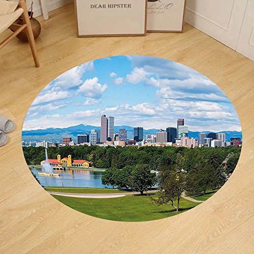 Gzhihine Custom round floor mat Urban City Park at Denver Colorado Downtown Tree and Architecture Sunny Panorama Bedroom Living Room Dorm Sky Blue Fern - Colorado Outlets In Denver