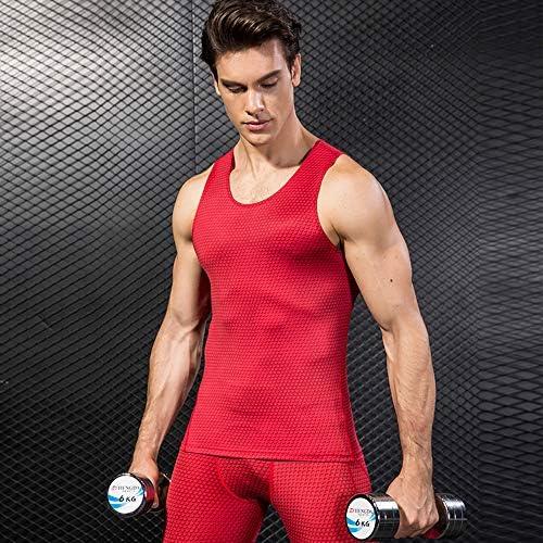 メンズコンプレッションタンクトップマッスルシャツストレッチクールドライスリミングボディシェイパーベストスポーツフィットネスランニングアンダーシャツ2パック,I combination,XL