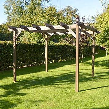 Rutland County Garden Furniture Estructura de Madera jardín pérgola 4.2 M x 4.2 m – marrón rústico – esculpido Rafter, marrón: Amazon.es: Jardín