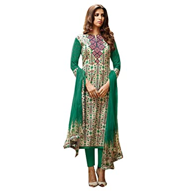 0e3526744d Beautiful Green lawn Cotton printed with orange Embroidery salwar Suit  Dress Material: Amazon.in: Clothing & Accessories