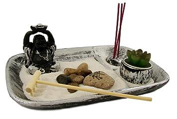 Amazon.de: Zen Garten Inkl. Buddha Statue Kerzen Und Viel Zubehör ... Buddha Deko Wohnzimmer