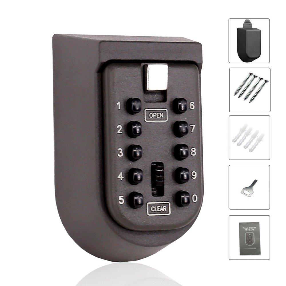 Key Storage Lock Box Wall Mounted Key Holder with 4-Digit Combination Security Storage Organizer (Lock6)