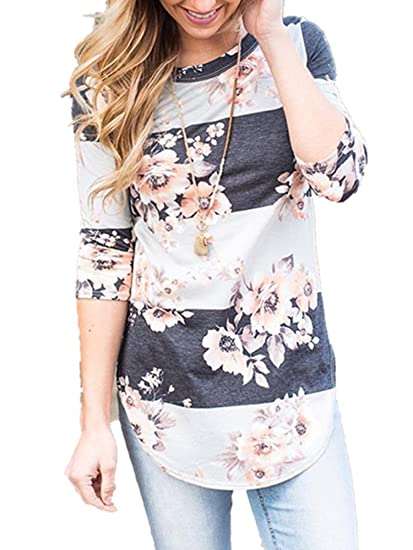 53164a4312331 Xuan2Xuan3 Women Round Neck 3 4 Long Sleeve Flower Print Color Block Casual  Cotton Blouses Tops Shirts at Amazon Women s Clothing store
