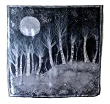 Batik on silk Twilight woods Night in the forest Textile art