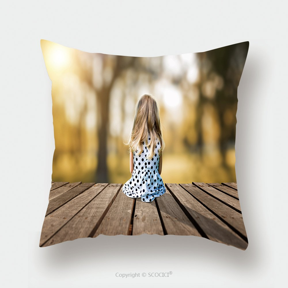 Custom Satin Pillowcase Protector A Little Young Girl Is Sitting On A Wooden Pier 407346304 Pillow Case Covers Decorative by chaoran
