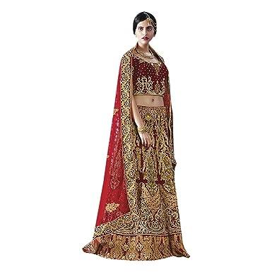 4d0ae1856b1 Amazon.com  Wedding Special Indian Bridal Designer Velvet Silk Marron  Lehenga Choli Ghagara Dupatta Heavy Embroidery Ethnic Zari work 7239   Clothing