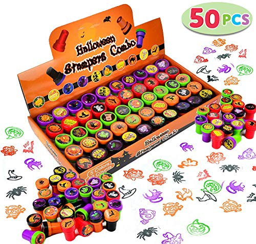 Flash Cracker Halloween (50 Pieces Halloween Assorted Stamps Kids Self-Ink Stamps (25 DIFFERENT Designs, Plastic Stamps, Trick Or Treat Stamps, Spooky Stamps) for Halloween Party Favors, Game Prizes, Halloween Goodies)