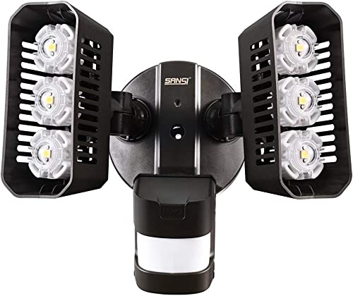 SANSI LED Outdoor Motion-Activated Security Lights, 27W 200W Equiv. 2700lm, 5000K Daylight, Waterproof Flood Light with Adjustable Head, 5 Year Warranty, Bronze