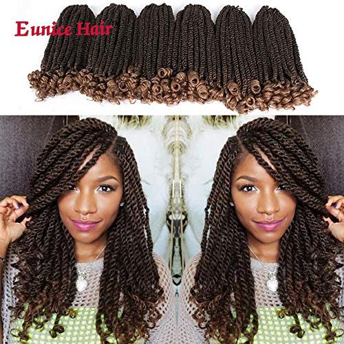 Eunice 6 Packs 12 Inch Ombre Brown Crochet Hair Braids Short Havana Mambo Twist Crochet Braiding Hair Senegalese Twists Hairstyles For Black Women 20 Strands/Pack (T1B/27)