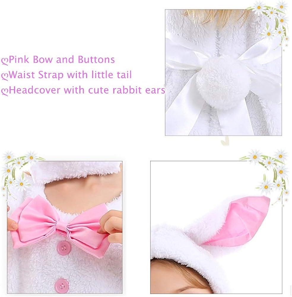 Kids Girls Bunny Costume White Rabbit Dress Hat Cosplay Set for Easter Halloween