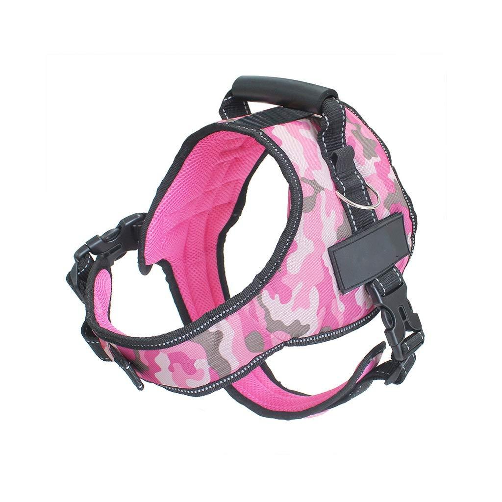 Camouflage pink A MDog Leash Harness Set with Collar & Heavy Duty Denim Dog Leash Collar for Small Medium Large Dog,6 colors (color   Camouflage Pink B, Size   XXL)