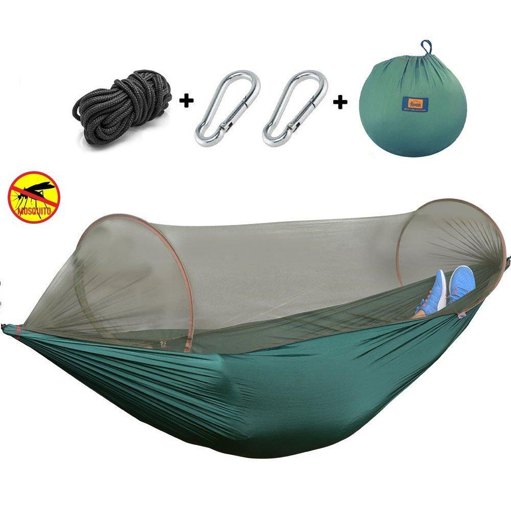 キャンプハンモックセットwith Mosquito Net、viniking、耐久軽量パラシュートナイロン生地ハンモック、ポータブルと折り畳み式のバックパッキング、キャンプ、旅行、ビーチ、ヤード114 x 57インチ B073H5YY8N  グリーン
