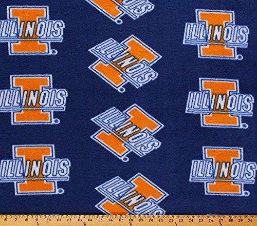 Fleece College University of Illinois Fighting Illini Fleece Fabric Print By the Yard - Blue - College Fleece