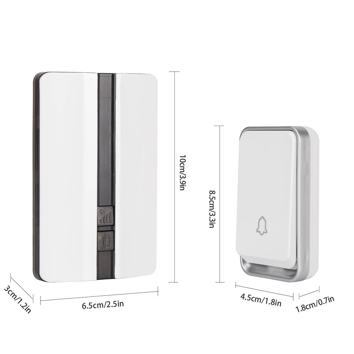 Opard No-Need-Battery Waterproof Push Button Chime Kit 2 Plug-in Receivers /& 1 Push Button 300M Long Range Remote Control with LED Indicator 36 Chimes No Need Battery Wireless Door Bell