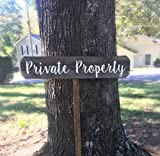 Rustic Wooden Private Property Yard Sign