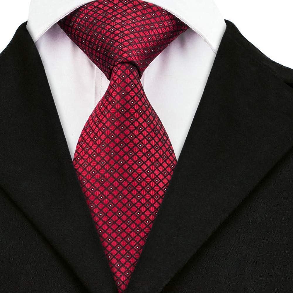 Corbata Tela Escocesa Roja Punto Blanco Clásico Hombre 100 ...