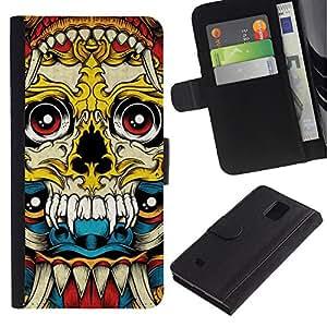 KLONGSHOP / Tirón de la caja Cartera de cuero con ranuras para tarjetas - Vampire Fang Acid Trip Yellow Skull - Samsung Galaxy Note 4 SM-N910