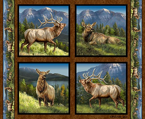 Elkmont Ridge Fabric Elk Pillow Sold by the Panel