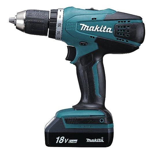 Makita DF457DWE Taladro, 750 W, 18 V, Negro, Azul, 0