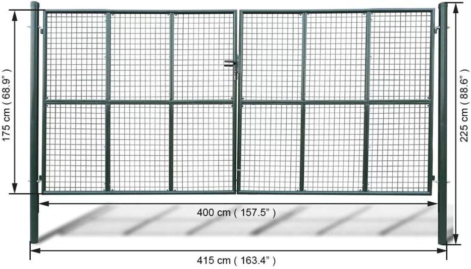 400 x 175 cm inkl 3 Schl/üssel mewmewcat Gartentor Zauntor Gitterzaun Tor Gartent/ür aus Verzinkter Stahl Dunkelgr/ün 415 x 225 cm