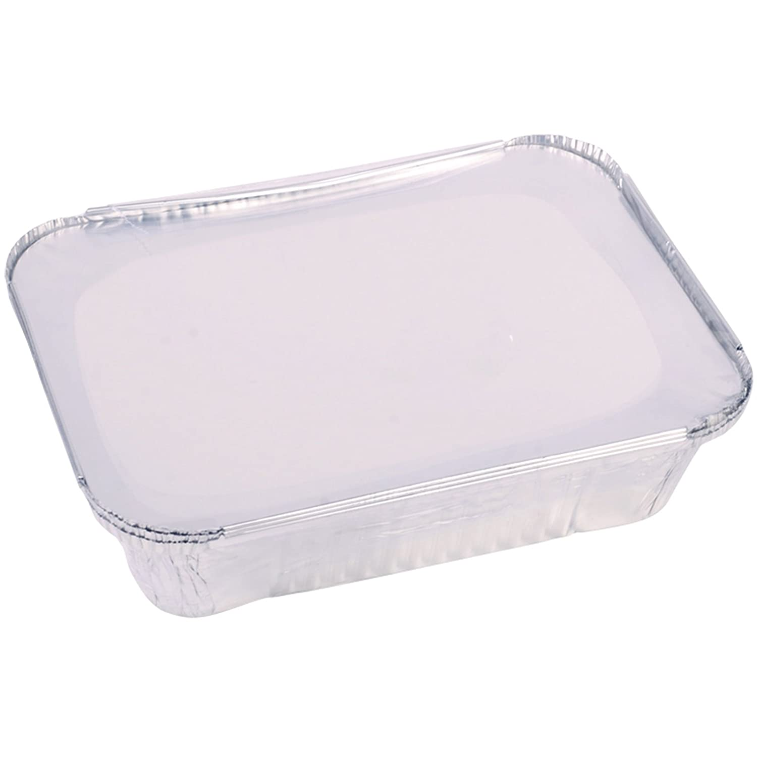 Britwear 3 x Aluminium Foil Takeaway Food Cooking Containers + Lids (255mm x190mm x70mm)