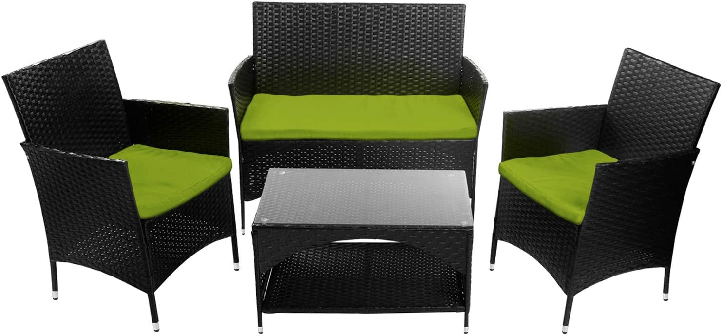 Romatlink 4 PCS Patio Furniture Outdoor Garden Conversation Wicker Sofa Set, Green Cushions