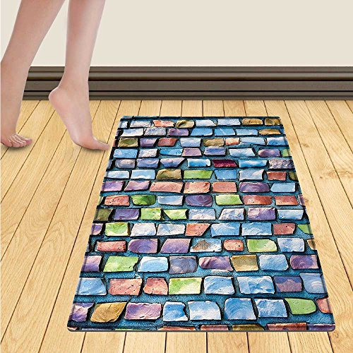 WolfgangDecor Geometric Door Mat outside Colorful Mosaic Textured Sketchy Brick Wall Display Glossy Grid Modern Artwork Bathroom Mat for tub Non Slip 20