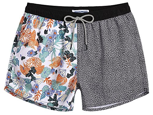 MaaMgic Mens Boys Short 80s 90s Vintage Swim Trunks with Mesh Lining Quick Dry Swimming Trunks Bathing Suits