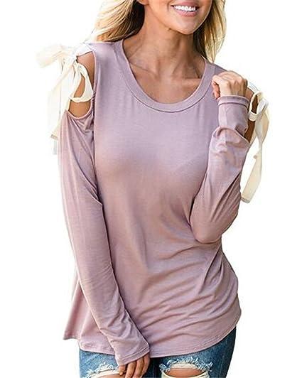 BESTHOO Mujeres Sexy Hombros Expuestos Camisetas Cuello Redondo Blusas Camisas Sweatshirt Tops Bordada T Shirt