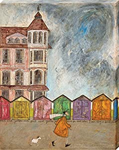 the art group sam toft i can sing a beach hut canvas print 40 x 50cm wood multicolour 40 x 50 x 13 cm